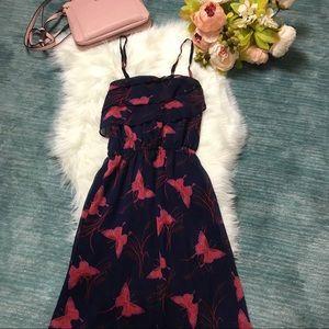 Express Navy & Red Ruffle Butterfly Maxi Dress